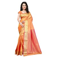 Vismay Banarasi silk weaving saree with golden border FS663