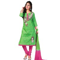 Embroidered Unstitched Cotton Churidar Material 015