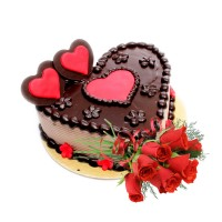 Special Chocolate Cake 1.5Kg with Fresh Red Roses