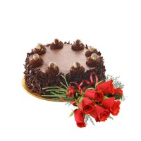 Special Chocolate Premium Cake 1.5Kg with Fresh Red Roses