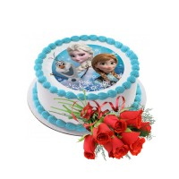 Special Vanila Cake 1.5Kg Photo with Fresh Flowers