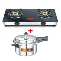 Prestige Marvel Plus Glass Top Gas Table GTM02 and Pressure Cooker 4 Litre Combo
